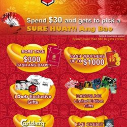 [i Darts Halo] Starting today! i Darts SURE HUAT Ang Bao promotions, i Darts will give away Cash, Vouchers, Premium items, to F&