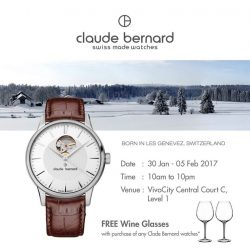 [Claude Bernard] Visit us next week at VivoCity Central Court C (in front of TANGS) to enjoy exclusive promotions on Claude Bernard