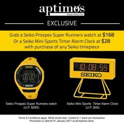 [All Watches / Aptimos] Grab a Seiko Prospex Super Runners watch at $168 Or a Seiko Mini Sports Timer Alarm Clock at $28 with