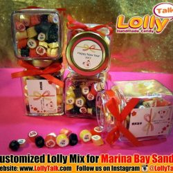[Lolly Talk] LollyTalk handcrafted lolly mix for Marina Bay Sands packed into personalized square bottles with ribbon!! LollyTalk also provides personalised packagings
