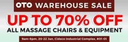 [OTO Bodycare] Warehouse sale is back !!!! From tomorrow  –  Saturday 21th Jan,  come enjoy the great deals up to 70% off at Cideoco