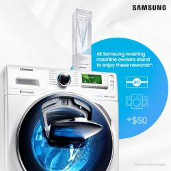 [Harvey Norman] In celebration of the President's Design Award winning of AddWash™ Washing Machine, simply register any Samsung Washing Machine of