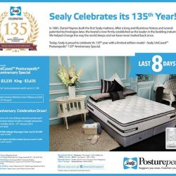 [Sealy Singapore] Last 8 Days! Purchase our Sealy UniCased Posturepedic 135th Anniversary Special at $3,235! Get a FREE bedframe and accessories