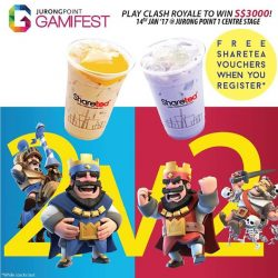 [Sharetea Singapore (歇脚亭)] SATUR-DATE IDEA💡 Take part in Gamifest at Jurong Point tomorrow and redeem FREE BUBBLE TEA at Sharetea! We're
