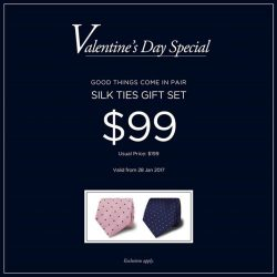 [T. M. Lewin] Good things come in pair.Special deal for this Valentine's Day, Silk Ties Gift Set at $99 only (U.