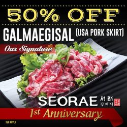 [SEORAE] To celebrate our first anniversary, we have special promo for you. Get 50% OFF our signature Galmaegisal (USA Pork Skirt).