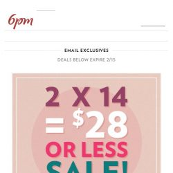 [6pm] $28 (or Less) Sale! BAM!