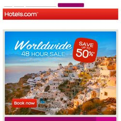 [Hotels.com] [48 Hour Sale] Save up to 50%