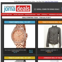 [Jomashop] Fossil Ladies Watch $58 | Juicy Couture Watch 74% off | Revue Thommen Auto $799 | Salvatore Ferragamo 84% off | Last Chance Deals from Rolex & Burberry