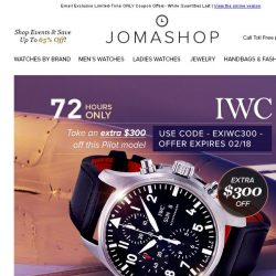 [Jomashop] 72 HOURS: Extra $300 off IWC Pilot • Citizen Men's Watches $65 Shipped