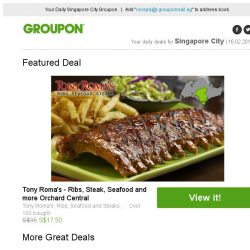[Groupon] Tony Roma's - Ribs, Steak, Seafood and more Orchard Central / Essensuals Orchard: Hair Remodelling