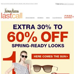 [Last Call] Sun worshippers! Be ready for spring + extra 30%–60% off everything