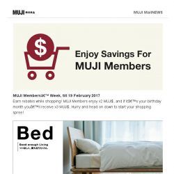 [Muji] Enjoy MUJI Members' Rewards!