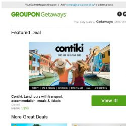 [Groupon] Contiki: Land Tours with Transport, Accommodation, Meals & Tickets / Seminyak: 4* Private Pool Villa / Seminyak: 4* Private Pool Villa / Singapore: 4* Village Hotel Katong