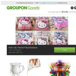 [Groupon] Hello Kitty Themed Fitted Bedsheet / Tempered Novelty Glass
