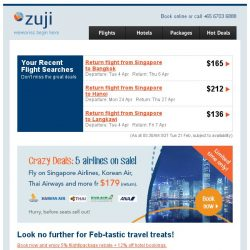 [Zuji] 📣 5 airlines on sale - including Singapore Airlines!