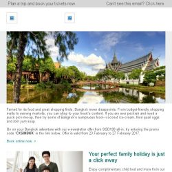 [Cathay Pacific Airways] E-newsletter exclusive: Bangkok from SGD198 all-in
