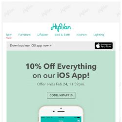[HipVan] 10% Off Everything On Our App!