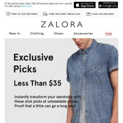 [Zalora] More for less: Exclusive picks less than $35