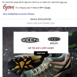 [6pm] Save on athletic & outdoor brands: KEEN, Reebok & more!