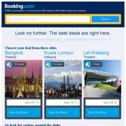 [Booking.com] Bangkok and Kuala Lumpur – great last-minute deals from S$ 15