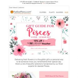 [FarEastFlora] Hi Valued Customer, see our Top 3 Recommended Gifts For Pisces ♓