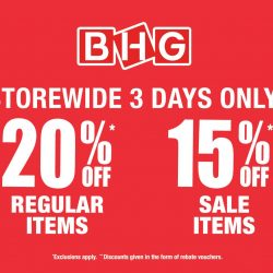 BHG: 3 days Storewide Red Hot Sale - 20% OFF Regular Items, 15% OFF Sale Items & 10% OFF Cosmetic Items