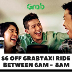 Grab: Coupon Code for $6 OFF Your GrabTaxi Ride Between 6am to 8am