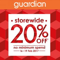 Guardian: Enjoy 20% OFF Storewide with No Minimum Spend in Stores & Online