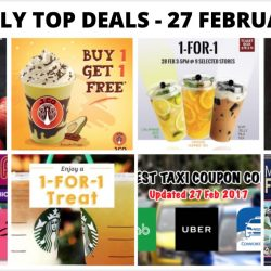 BQ's Daily Top Deals: 1-for-1 Deals at Starbucks, Toast Box, J.Co Donuts & Coffee, BreadTalk, Sushi Express Opening Promo of $1++/Plate, New Taxi Coupon Codes & More!