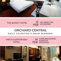 [Orchard Central] Congratulations to NG MENG GEK (Sxxxx296G) & CHEN BINGZHENG IGNATIUS (Sxxxx194J) for winning Orchard Central's Daily Valentine's Draw for