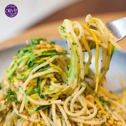 [Olivia & Co] GUILT FREE INDULGENCE!!! Fancy something light? Go for the herby Zucchini Pasta, tossed in olive oil and fresh pesto, generously