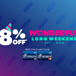 [Lazada Singapore] Citi Wonderful Long Weekend! Cardmembers get to enjoy 8% off with code 'CITIWONDER' 