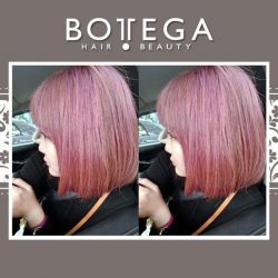 [BOTTEGA hair & beauty ] If you can't decide between orange and cherry hues, go for the moscato champagne pink hair! This hair color