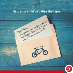 [OCBC ATM] Have your child identify a goal, and then put a photo of it on an envelope. They'll be inspired