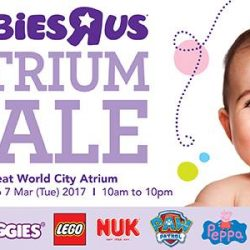 """[Babies'R'Us] Babies""""R""""Us Atrium Sale happening now at Great World City Atrium from today till 7 Mar (Tue) 2017! Find"""