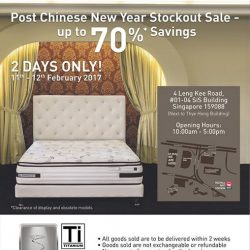 [Sealy Singapore] Dear fans! We are having a Post Chinese New Year Stockout Sale from 11th – 12th February 2017! Get up to