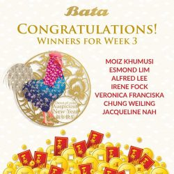 [Bata Shoe Singapore] Congratulations to the Week #3 winners of our 'Bring Home Abundance with Bata' Online Contest! You have each won yourself