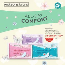 [Watsons Singapore] The time of the month is here again…but with Watsons' Sanitary Napkins/ Pantyliners, we've got you all covered!