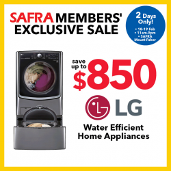 [Courts] Hurry! For 2 days only, SAVE UP TO $850 on LG Water Efficient Home Appliances for SAFRA Members at SAFRA