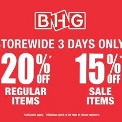[BHG Singapore] Don't Miss out our Red Hot Sale from 3 to 5 Feb!Enjoy Storewide 20% off regular & 15% off