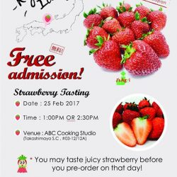 [ABC Cooking Studio] Hello everyone! We will be serving hundreds of free Kyoto Strawberries on 25th Feb (Saturday) to all customers for tasting.