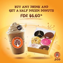 [J.Co Donuts & Coffee] Its Wednesday!Get our half dozen donuts for only $6.60 with any drink purchase at our Suntec, One Raffles