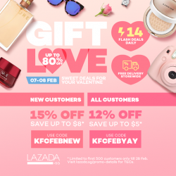 [KFC Singapore] Shop the best Valentine's Day gifts on Lazada.SG with up to 80% off storewide and an additional 15%