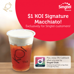 [KOI Café] Enjoy a $1 KOI Signature Macchiato! My Singtel App Exclusive!Login to My Singtel app > Rewards with your Singtel OnePass