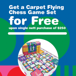 [Chocoolate --- i.t Labels Singapore] This is bringing back all sorts of nostalgic memories for us!Get a flying chess game carpet for FREE when
