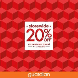 [Guardian] 20% DISCOUNT STOREWIDE!Shop and enjoy 20% off from 9 - 12 Feb 2017!*Head over to Guardian outlets or our