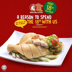 [The Chicken Rice Shop] Our favourite day of the month is coming up soon! Don't know about it? Every 18th of the month