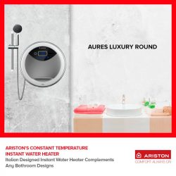 [Ariston] Ariston Italian designed water heater complements any bathroom settings and certainly helps to elevate the sophistication of your bathroom!With