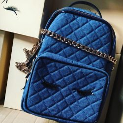 [Kandee] Denim quilted eye lash backpack ! Email Sales@kandeeshoes.com to order .....